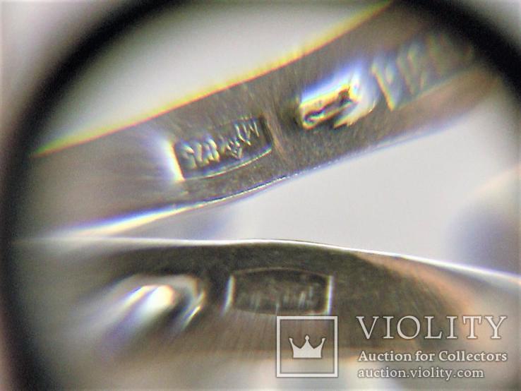 Набор кольцо перстень размер 17 серьги серебро СССР 875 проба 4,33 грамма, фото №8