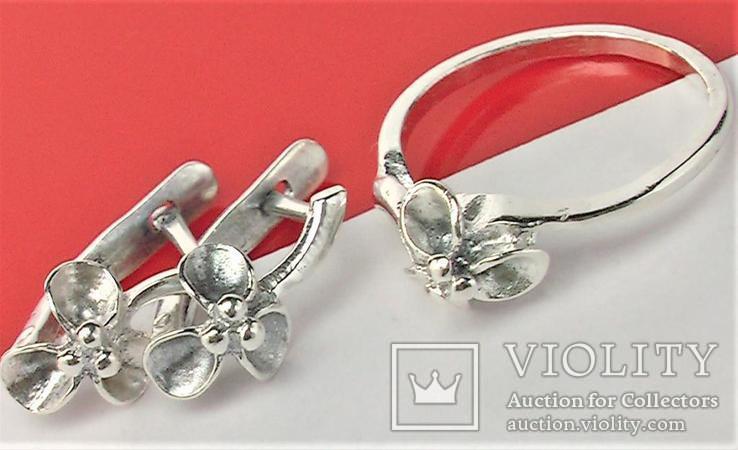 Набор кольцо перстень размер 17 серьги серебро СССР 875 проба 4,33 грамма, фото №9