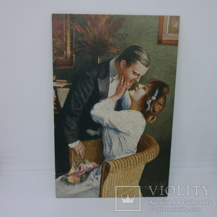 Открытка Свидание девушки и молодого человека. Поцелуй, фото №2