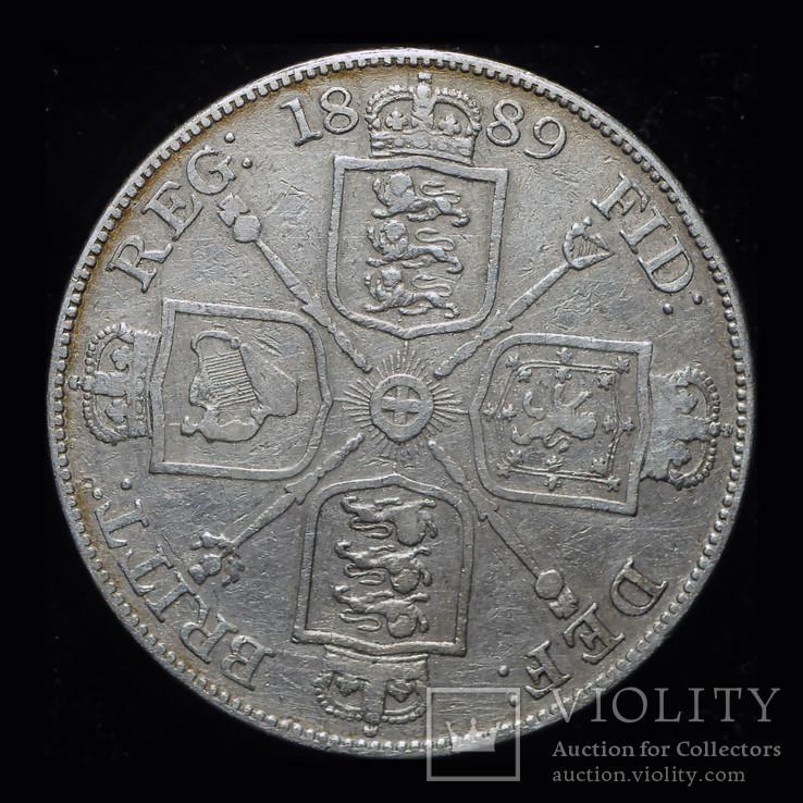 Великобритания двойной флорин 1889 серебро