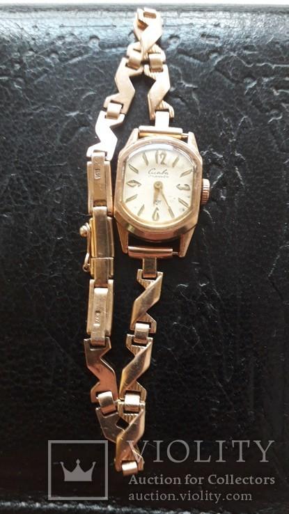 Часы золотые Слава 17 камней, фото №2