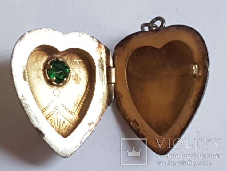 Советский кулон. Сердце, для Фото.  Серебро 875 проба с головкой., фото №7