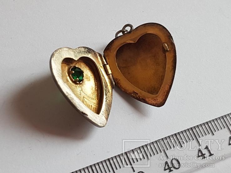 Советский кулон. Сердце, для Фото.  Серебро 875 проба с головкой., фото №8