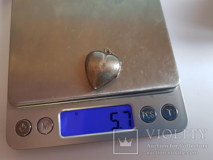 Советский кулон. Сердце, для Фото.  Серебро 875 проба с головкой., фото №11