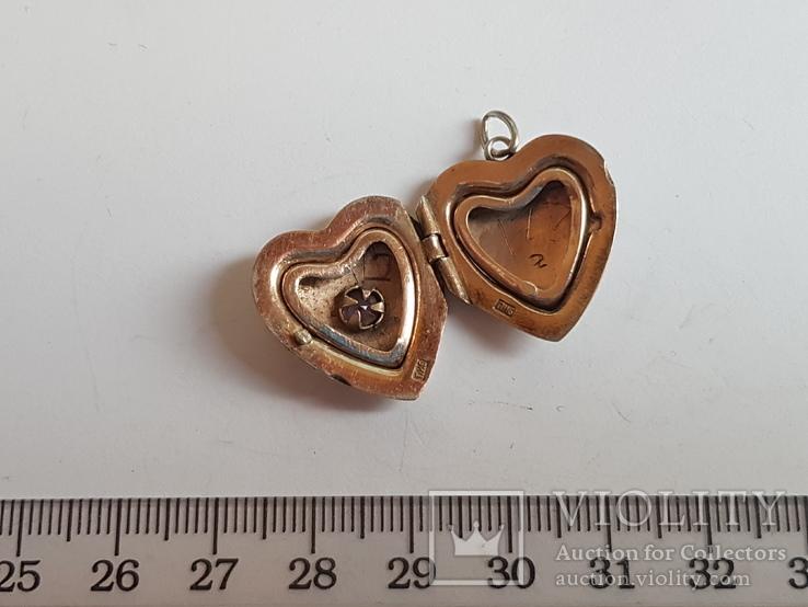 Советский кулон в виде сердце, для фото. Серебро 875 проба с головкой., фото №2