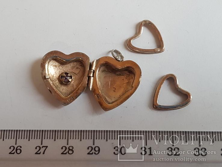 Советский кулон в виде сердце, для фото. Серебро 875 проба с головкой., фото №3