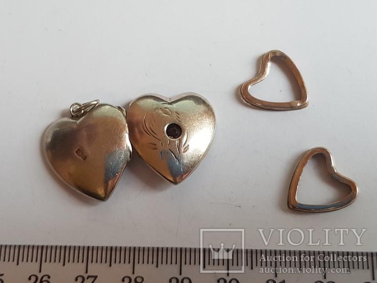 Советский кулон в виде сердце, для фото. Серебро 875 проба с головкой., фото №4