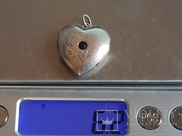 Советский кулон в виде сердце, для фото. Серебро 875 проба с головкой., фото №6