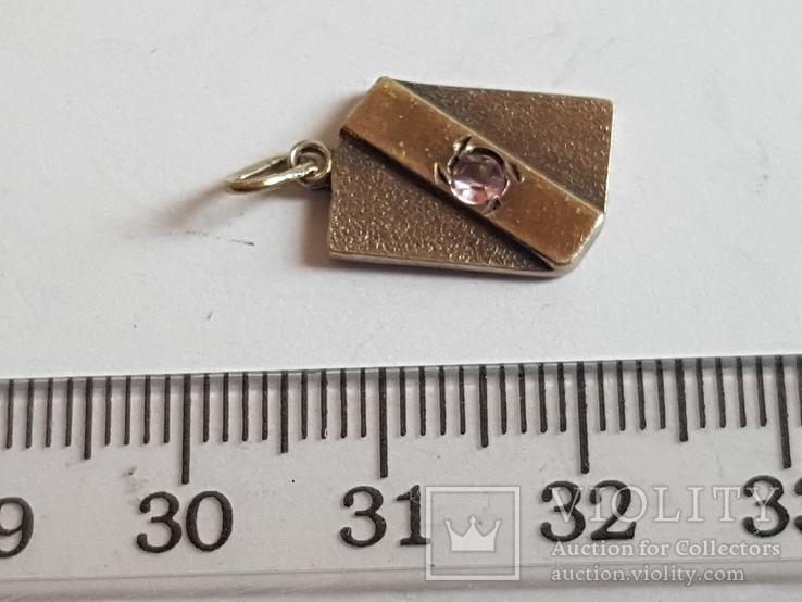 Советский кулон. Серебро 875 проба. Камень., фото №2