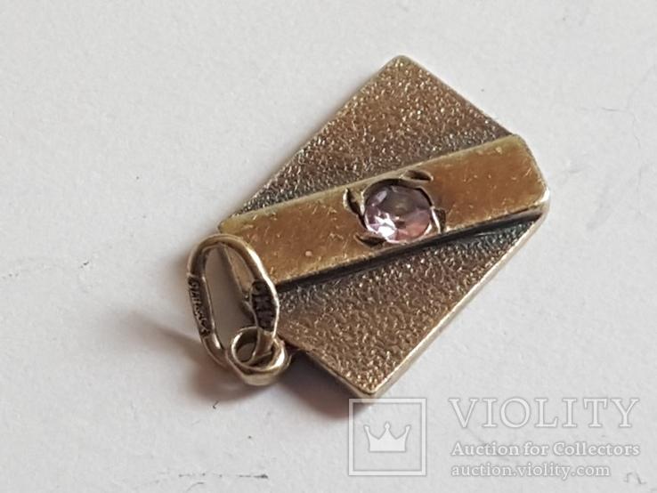 Советский кулон. Серебро 875 проба. Камень., фото №4