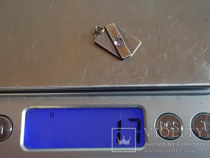 Советский кулон. Серебро 875 проба. Камень., фото №6