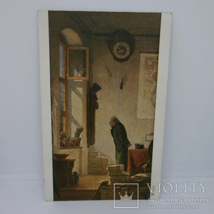 Открытка Кактус. Мужчина в комнате заваленной книгами. Чтение, фото №2