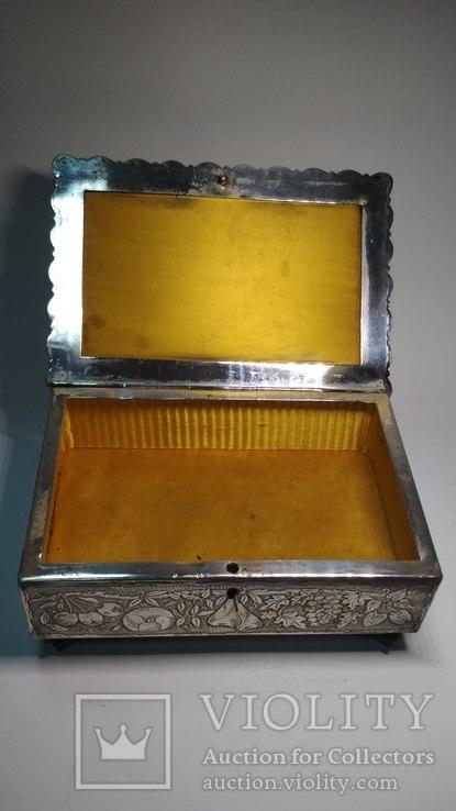 Старая бронзовая шкатулка, клеймо, серебрение, фото №6