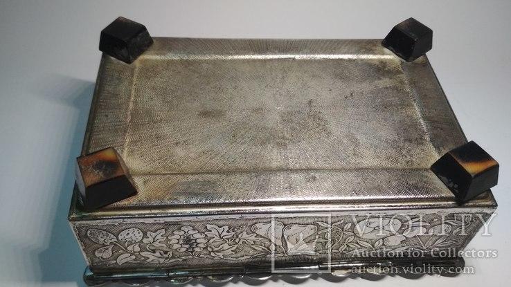 Старая бронзовая шкатулка, клеймо, серебрение, фото №8