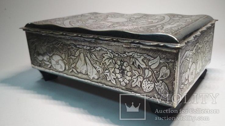 Старая бронзовая шкатулка, клеймо, серебрение, фото №9