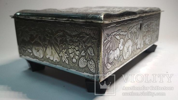 Старая бронзовая шкатулка, клеймо, серебрение, фото №10