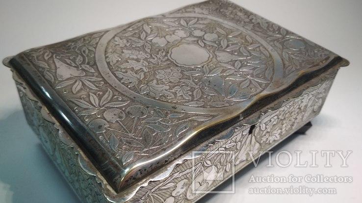 Старая бронзовая шкатулка, клеймо, серебрение, фото №11