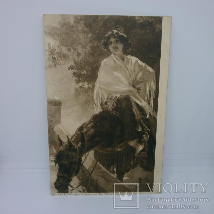 Открытка Девушка в шале на лошади, фото №2