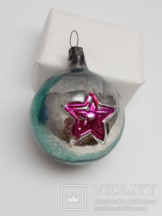 Елочная игрушка Шар  с выпуклым рисунком  Звезда, СССР, фото №2