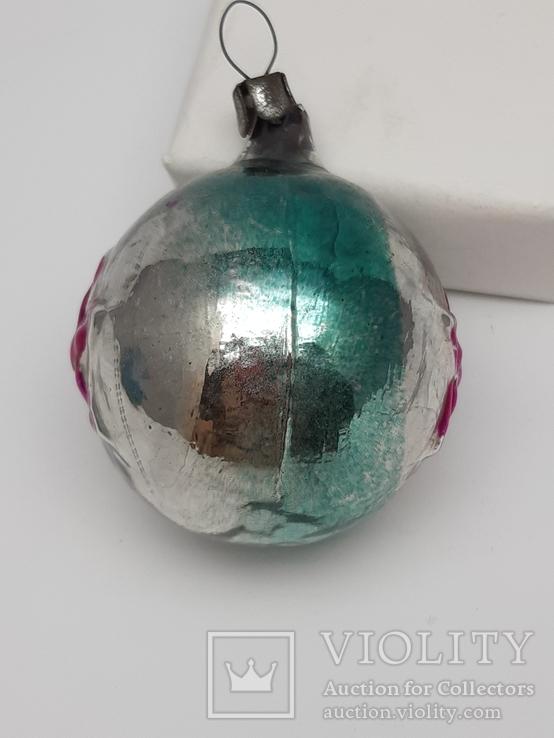 Елочная игрушка Шар  с выпуклым рисунком  Звезда, СССР, фото №8
