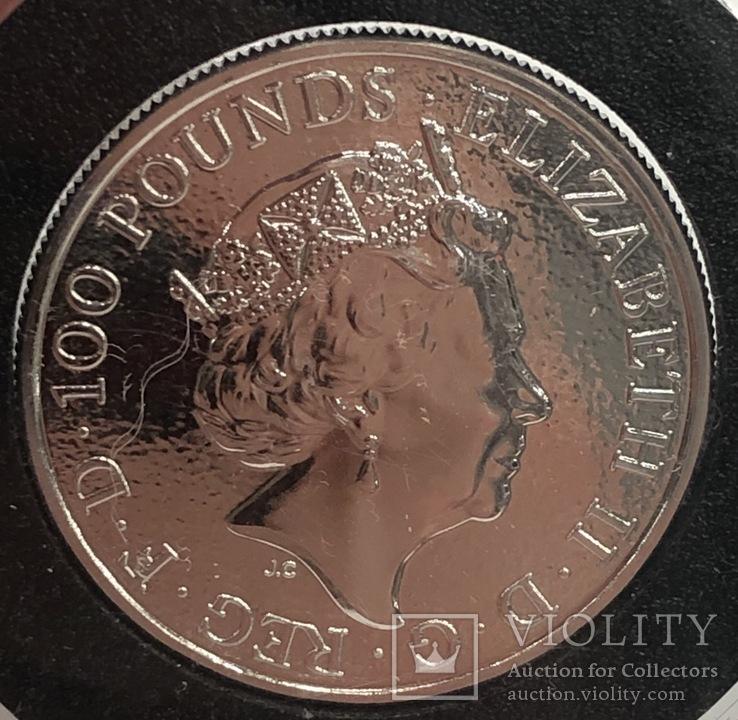 100 фунтов 2017 год Англия Лев платина 31,1 грамм 999,5', фото №3