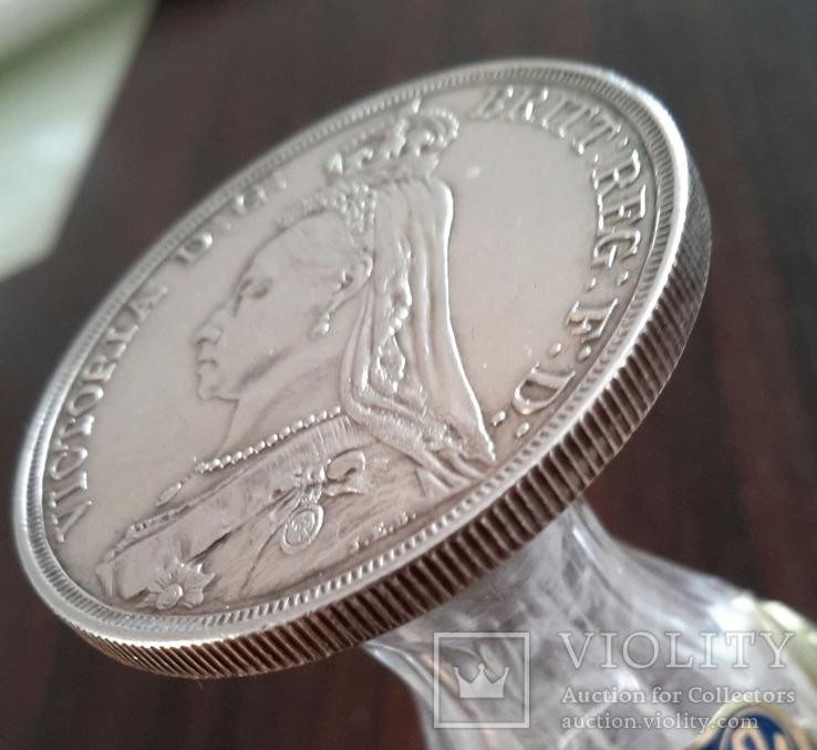 1 крона, 1887 год, Великобритания, серебро Масса: 28 г Диаметр: 39 мм, фото №3