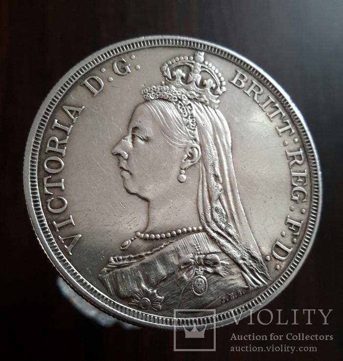 1 крона, 1887 год, Великобритания, серебро Масса: 28 г Диаметр: 39 мм, фото №4