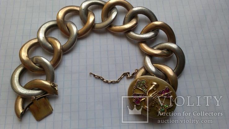 Браслет с массонской символикой, золото, серебро., фото №2
