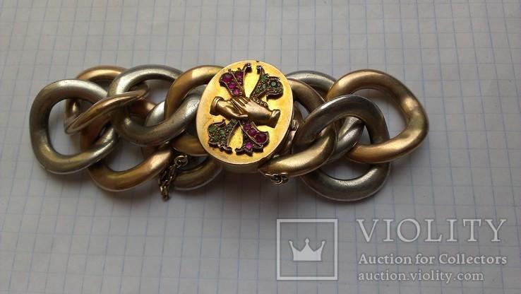 Браслет с массонской символикой, золото, серебро., фото №4