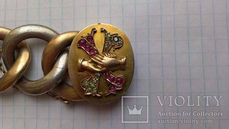 Браслет с массонской символикой, золото, серебро., фото №5
