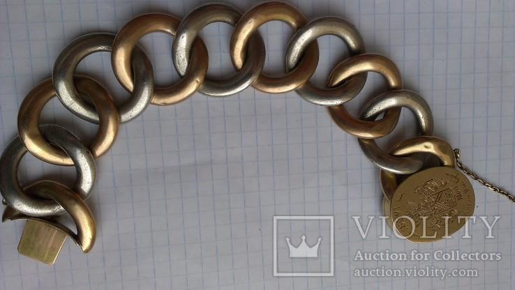 Браслет с массонской символикой, золото, серебро., фото №10