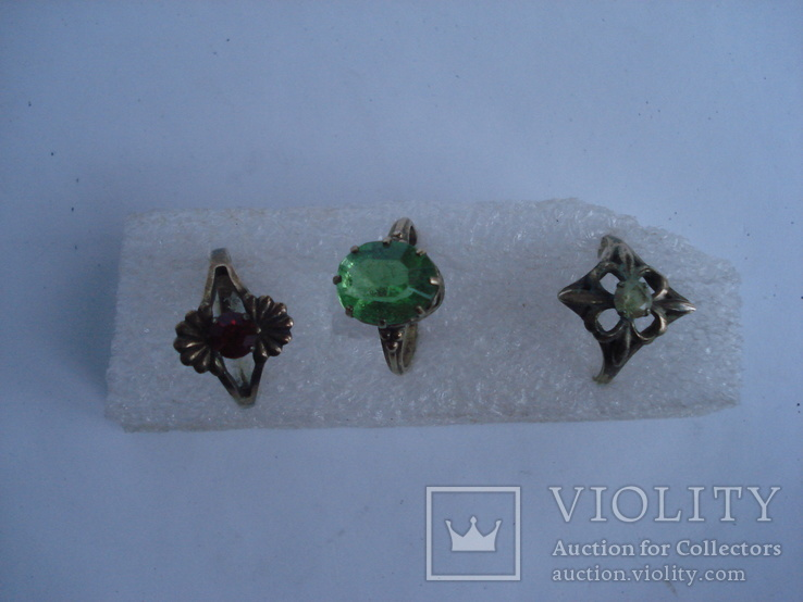 Три кольца из серебра СССР, позолота. 875пр., фото №2