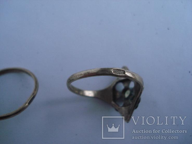 Три кольца из серебра СССР, позолота. 875пр., фото №8