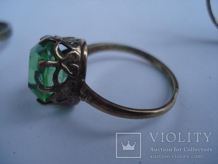 Три кольца из серебра СССР, позолота. 875пр., фото №10