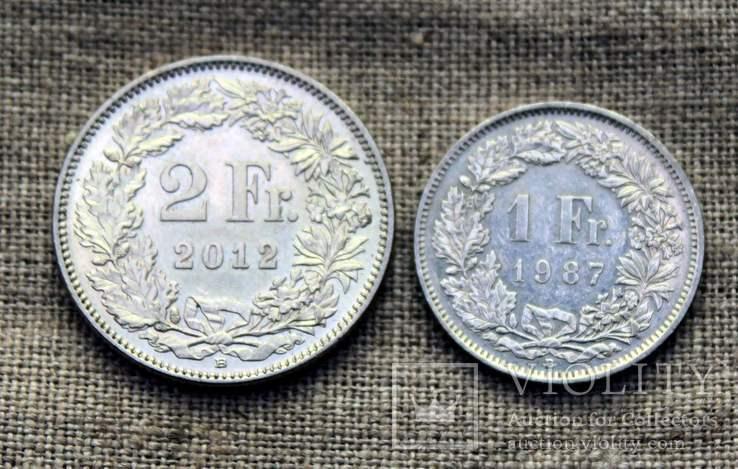 2 франка 2012 1 франк 1987 Швейцария, фото №2