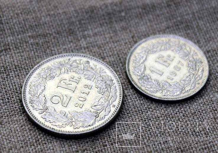 2 франка 2012 1 франк 1987 Швейцария, фото №3