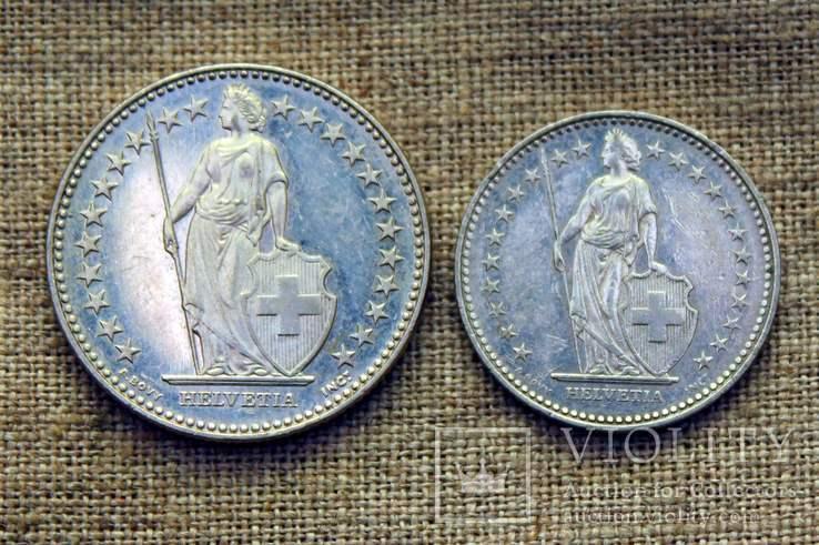 2 франка 2012 1 франк 1987 Швейцария, фото №4