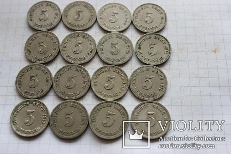 5 пфеннигов - 16 шт., фото №2