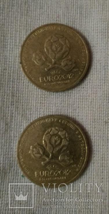1 гривня Євро 2012 / идеал / 2 штуки, фото №2