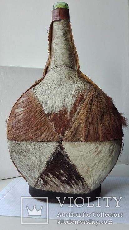 Большая бутылка декор, кожа, фото №7