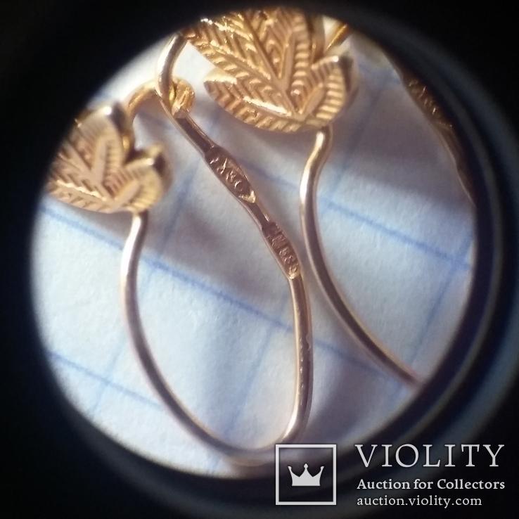 Золотые сережки листочки золотые серьги, фото №7