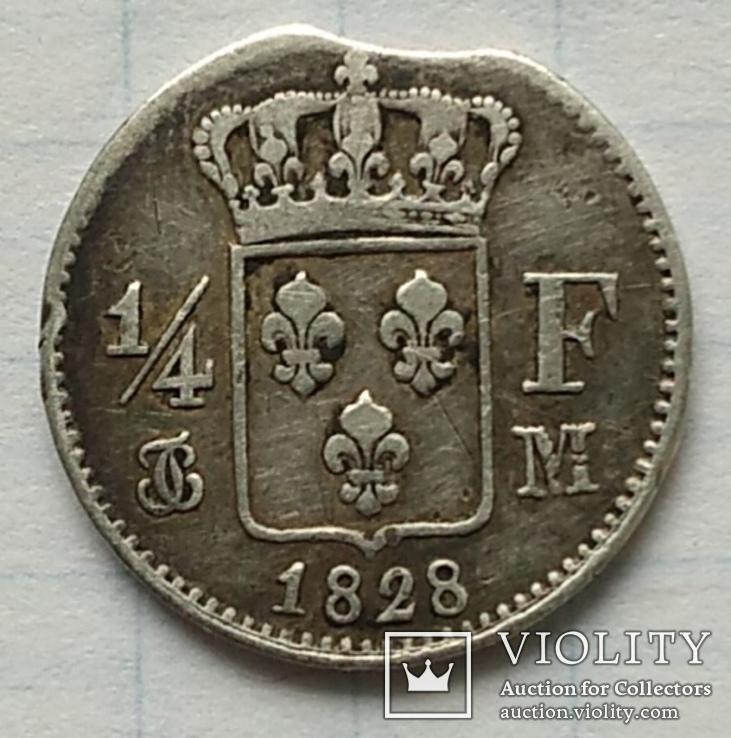 Монета 1/4 франка, 1828 года., фото №2