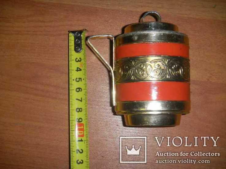 Сахарница СССР для рафинад к подстаканник алюминиевая, фото №2