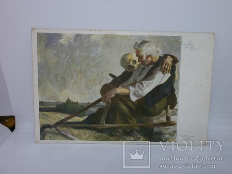 Открытка Пожилой мужчина и старушка с косой, фото №2