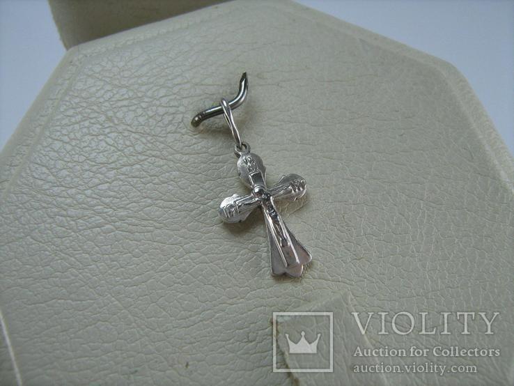 Серебряный Кулон Подвеска Крест Крестик Распятие Спаси и сохрани 925 проба Серебро 373, фото №3