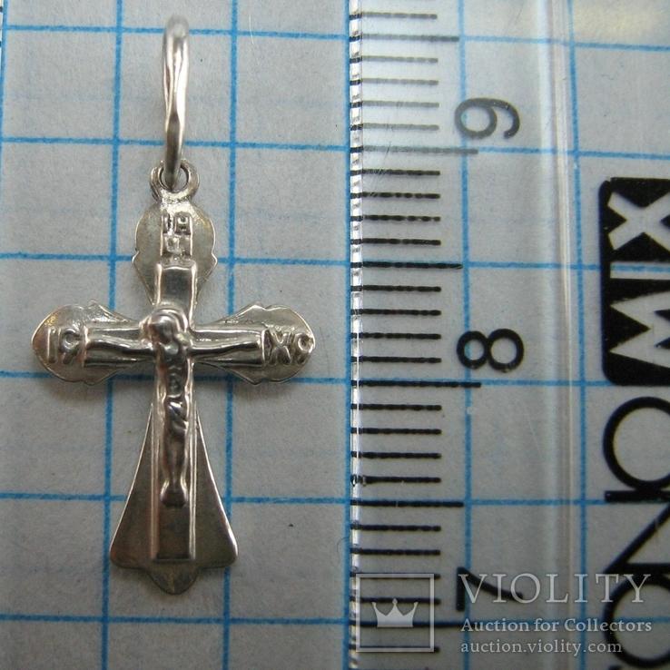 Серебряный Кулон Подвеска Крест Крестик Распятие Спаси и сохрани 925 проба Серебро 373, фото №4