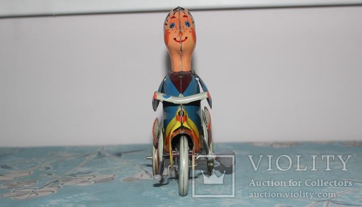 Заводная игрушка из жести - Мальчик на велосипеде, фото №2
