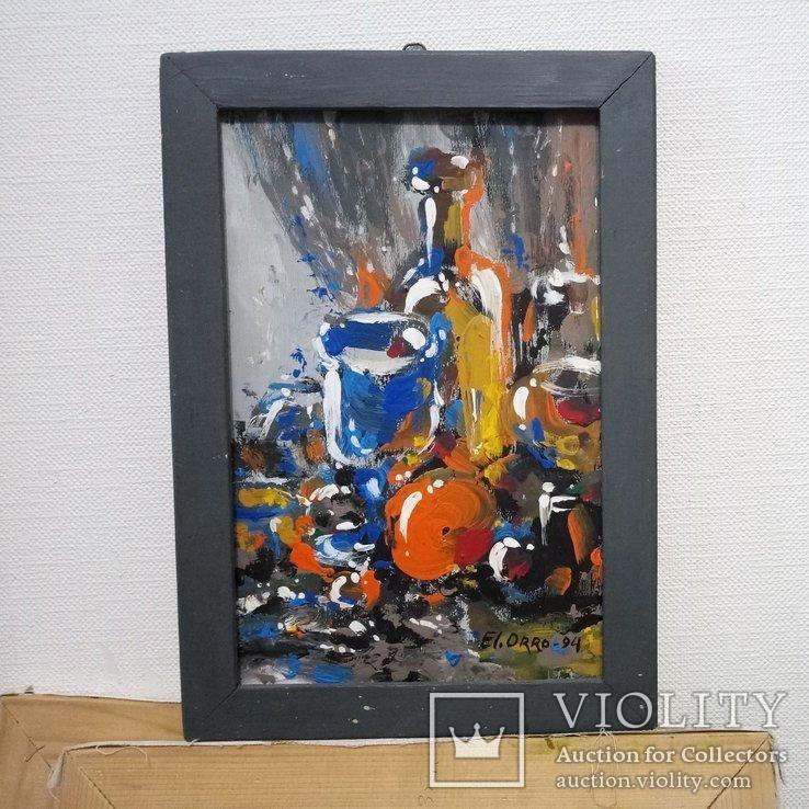 Картина «Натюрморт «Блики». Художник Ellen ORRO. дерево/акрил, 19.5х29.5, 1994 г., фото №3