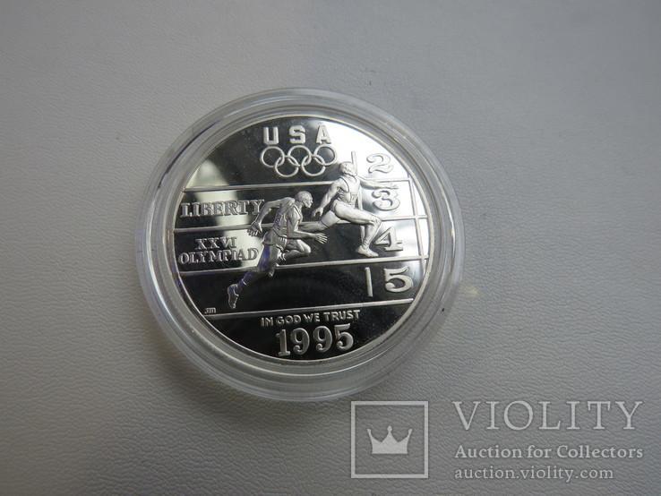 США один доллар 1995 год Атланта бег, фото №2