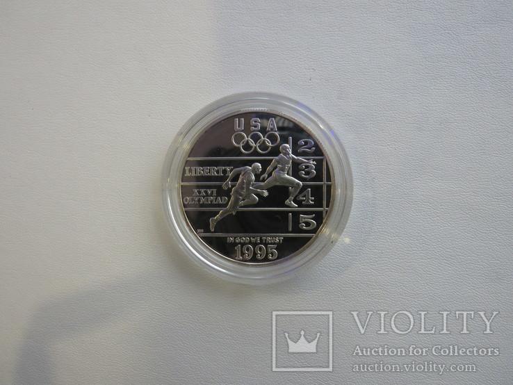 США один доллар 1995 год Атланта бег, фото №3